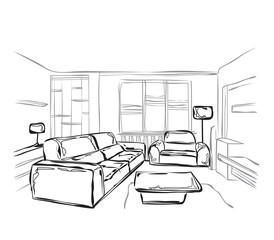 Vector illustration interior sketch.