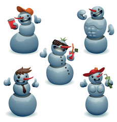 Vector Funny snowmen set. Cartoon image of five funny light blue snowmen in various poses and with different attributes on a light background.