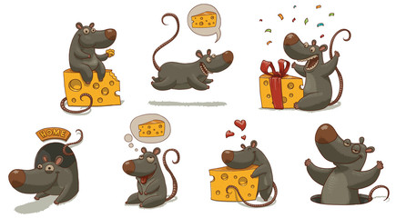 Vector Mouse and cheese set. Cartoon image of seven funny gray mice with yellow pieces of cheese in various poses on a light background.