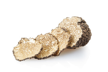 Black truffle isolated on white, clipping path included