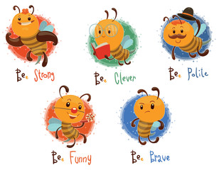 Vector Set of bees. Cartoon image of five different funny yellow bees in various poses on a light background.