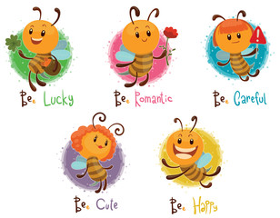 Vector Set of five bees. Cartoon image of five different funny yellow bees in various poses on a light background.