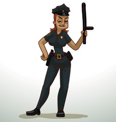 Vector cartoon image of a police woman with red hair in black pants, shirt, black police hat, with gold badge on her chest, black holster on belt and black baton in hand on a light background.