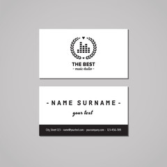 Music studio business card design concept. Music studio logo with musical visualization and wreath. Vintage, hipster and retro style. Black and white.