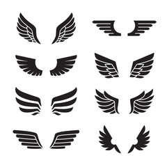 Wings black icons vector set. Modern minimalistic design.