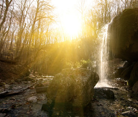 Fototapete - Waterfall in the wood
