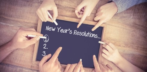 Composite image of new years resolution list