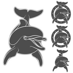 Set of emblem with the logo of a dolphin. Isolated objects on a white background