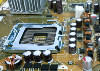 computer motherboard with cpu socket