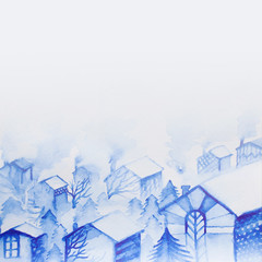 Watercolor illustration of many houses under the snow