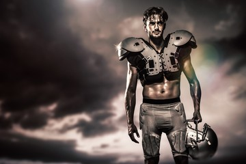 Composite image of shirtless american football player