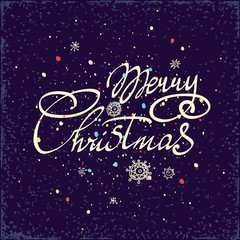 Merry Christmas hand lettering isolated on dark background. Vector image. Greeting card.