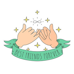 Best friends forever cartoon style little fingers with infinity sign, ribbon and stars. Hands illustration.