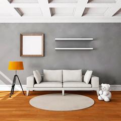 Living room interior with hardwood floor