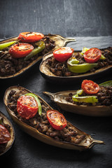 Eggplant with minced meat and vegetables