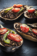 Eggplant with minced meat and vegetables vertical