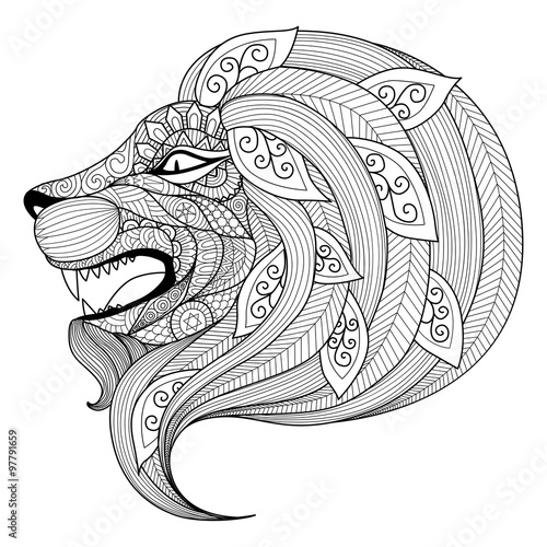 Drawing zentangle angry lion for coloring book for adult
