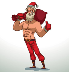 Vector cartoon image of strong Santa Claus with a white beard and mustache in red pants, gloves and hat, brown boots with a big red bag on his shoulder on a light background.