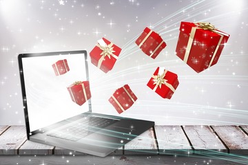 Composite image of red and gold presents