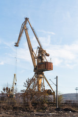 Cranes at the port on the Danube town of Lom, Bulgaria