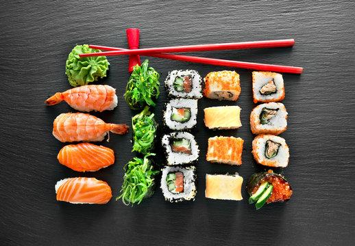 Sushi set and chopsticks