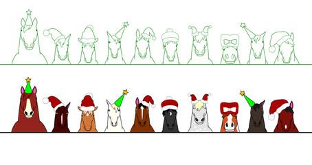 christmas Horses in a row