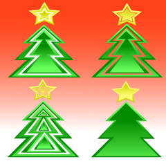 Set of Christmas trees for postcards, prints, layout, banner.