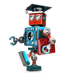 Graduating Robot in grad hat with book. Isolated. Contains clipping path
