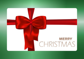 Solid Merry Christmas card with red bow and red ribbon