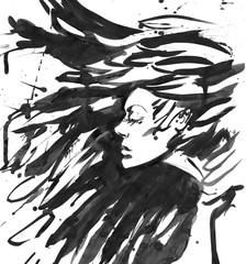 Dark Queen of crows. Fantasy black hair. Drawn ink