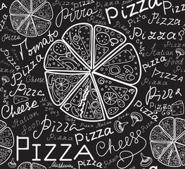 "Food vector seamless pattern with pizza slices and words ""Pizza"", handwritten by chalk on grey board, vector"