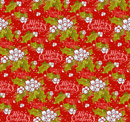 print, seamless pattern with a holly branch, lettering and wish on a red background, vector illustration