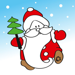 Funny Santa Claus Father Frost with Christmas tree