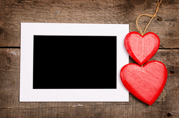 Picture frame with two hearts