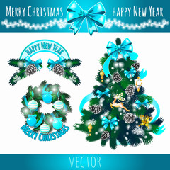 Festive symbols, decoration of the Christmas tree in blue