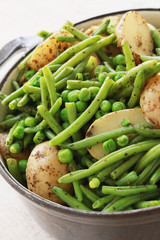 mixed beans peas and new potatoes
