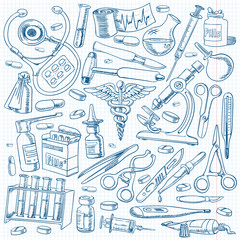 Medical equipments and tools in the freehand drawing style