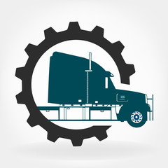 Truck repair logo vector design template