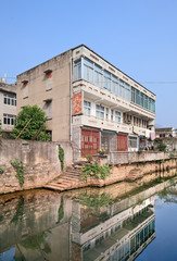 Traditional house near canal in traditional neighborhood, Wenzhou, Zhejiang Province, China