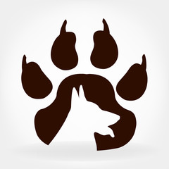 Dog footprint. Paw print logo.