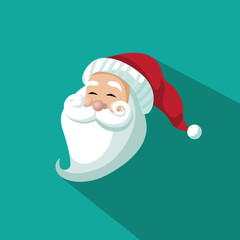 Smiling santa Claus head flat design. EPS 10 vector.