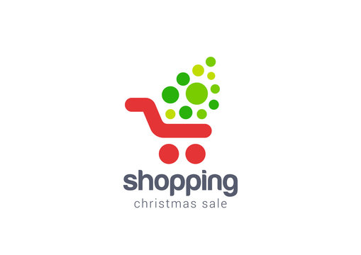 Christmas Sale Shopping cart Logo design vector concept