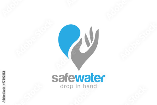 water drop in hand logo design vector save aqua waterdrop stock