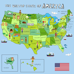 USA Pictures with federal states map vector illustration EPS10.
