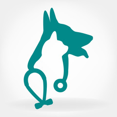 dog, cat and stethoscope logo.