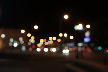 Bokeh effect background with city lights