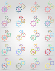 set icons information gear mechanism concept vector illustration