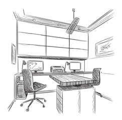 Hand drawn workplace