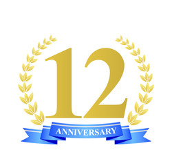 12 anniversary with blue ribbon and gold wreath
