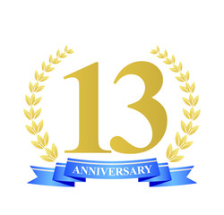 13 anniversary with blue ribbon and gold wreath